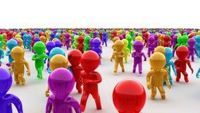 De mooie 3d mensen die van het kleurenbeeldverhaal op camera lopen stock videobeelden