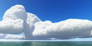 De mooie 3D zeegezichtwolken geven terug Stock Afbeeldingen