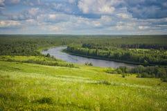 De mooie delta van de landschapsrivier met weiden en bos op een zonnige dag stock afbeeldingen