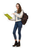 De mooie die handboeken van de studentenholding op wit worden geïsoleerd Stock Foto