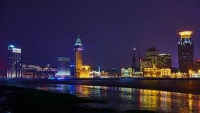 De mooie dijk van Shanghai bij nacht, China Stock Afbeeldingen