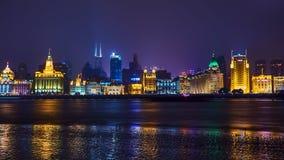 De mooie dijk van Shanghai bij nacht, China Stock Fotografie
