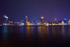 De mooie dijk van Shanghai bij nacht, China Stock Foto's
