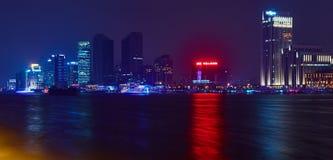 De mooie dijk van Shanghai bij nacht, China Royalty-vrije Stock Foto's