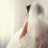De mooie Donkerbruine bruid wordt klaar Royalty-vrije Stock Afbeeldingen