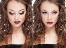 De mooie donkerbruine modelberoeps maakt omhoog royalty-vrije stock foto