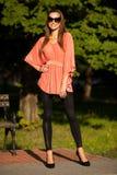 De mooie donkerbruine vrouw van de blogstijl in het modieuze kleding stellen Stock Foto's
