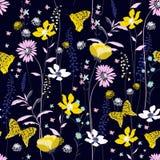 De mooie donkere bloem van de de windslag van het nacht Naadloze Patroon kleurrijke vector illustratie