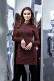 De mooie donkere van de donkerbruine korte wol het haarslijtage van de glamour sexy vrouw Royalty-vrije Stock Afbeelding