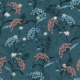 De mooie donkere vector van het de Herfst naadloze patroon met roze en blauw royalty-vrije illustratie