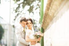 De mooie echtgenoot van het huwelijkspaar in kostuum en de vrouw in huwelijk kleden het stellen dichtbij de bakstenen muur royalty-vrije stock afbeelding