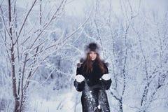 De mooie gelukkige lachende jonge vrouw die de handschoenen dragen die van de de winterhoed met sneeuw worden behandeld schilfert royalty-vrije stock foto's