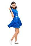 De mooie gemengde dansende sexy blauwe geïsoleerde kleding van de rasvrouw Stock Afbeeldingen
