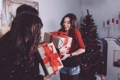 De mooie giften van de meisjesuitwisseling voor het nieuwe jaar Royalty-vrije Stock Foto's