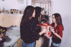 De mooie giften van de meisjesuitwisseling voor het nieuwe jaar Stock Fotografie