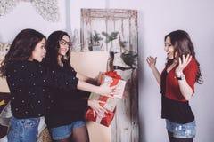 De mooie giften van de meisjesuitwisseling voor het nieuwe jaar Royalty-vrije Stock Foto