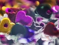 De mooie glanzende fonkelende decoratie van de Valentijnskaartendag Stock Foto
