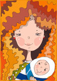 De mooie glimlachende moeder houdt op handen haar baby Stock Foto's