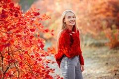 De mooie glimlachende vrouw dichtbij rood gaat in openlucht weg royalty-vrije stock foto