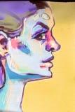 De mooie graffiti van de straatkunst Abstracte creatieve tekeningsmanier stock fotografie