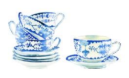 De mooie grafische mooie artistieke tedere prachtige blauwe thee van porseleinchina vormt de handillustratie tot een kom van de p stock fotografie