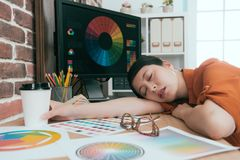De mooie grafische vrouwelijke werknemer van het ontwerpbedrijf stock afbeeldingen
