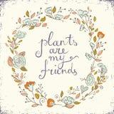 De mooie groetkaart met bloemenkroon en tekstinstallaties is mijn vrienden vector illustratie