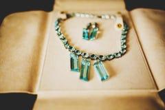 De mooie halsband met blauwe juwelen en de oorringen liggen op leer Royalty-vrije Stock Foto's