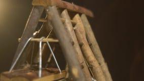 De mooie hamsters beklimmen en hebben pret op de speelplaats voor knaagdieren, langzame motie stock videobeelden