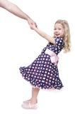 De mooie hand van de meisjeholding van haar geïsoleerde vader Royalty-vrije Stock Fotografie
