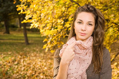 De mooie herfst met mooie brunette. Stock Foto