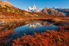 De mooie de herfstbezinning van Monte Fitz Roy Cerro Chalte royalty-vrije stock afbeeldingen