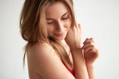 De mooie het Glimlachen Close-up van het Tienermeisje stock afbeelding