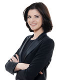 De mooie het glimlachen Kaukasische gekruiste wapens van het bedrijfsvrouwenportret stock foto