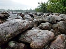 De mooie Hickory stelt Keigebied in Pennsylvania op een regenachtige mistige dag in werking stock fotografie