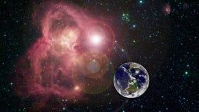 De mooie horizon van de zonsopgangwereld Aarde van ruimte Aarde roterende animatie De klem bevat ruimte, planeet royalty-vrije illustratie