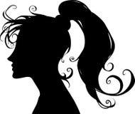 De mooie illustratie van het beeldverhaal zwarte silhouet van een mooi en elegant vrouwenportret vector illustratie