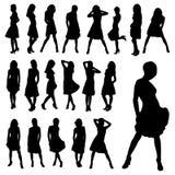 De mooie inzameling van meisjessilhouetten Stock Fotografie