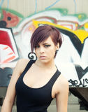 De mooie jonge achtergrond van vrouwengraffiti Royalty-vrije Stock Fotografie