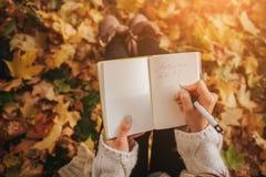 De mooie jonge donkerbruine zitting op de gevallen herfst gaat in een park, lezing een weg boek of schrijft een agenda Royalty-vrije Stock Afbeeldingen