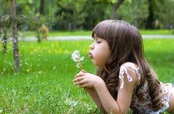 De mooie jonge paardebloemen van de meisjesslag openlucht royalty-vrije stock afbeeldingen