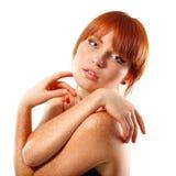 De mooie jonge samenstelling van de vrouw die op wit wordt geïsoleerd? Stock Afbeelding