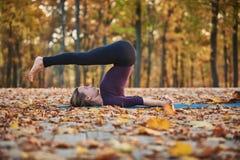 De mooie jonge van de yogaasana van vrouwenpraktijken Ploeg van Halasana stelt op het houten dek in het de herfstpark stock fotografie
