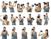 De mooie jonge veelvoudige mogelijkheden van de vrouwenfotograaf om samen te stellen Royalty-vrije Stock Afbeelding