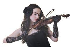 De mooie jonge viool van het damespel Stock Foto