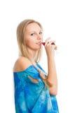 De mooie jonge vrouw de blonde Stock Foto's