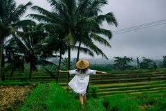 De mooie jonge vrouw glanst binnen door kleding met Aziatische rijsthoed, vrij voelen en houdt handen aan de kanten Meisjesgang b stock afbeeldingen