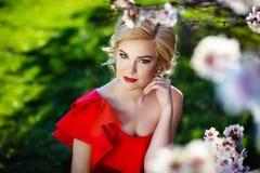 De mooie jonge vrouw met met lang haar verzamelde zich in het stileren stellend dichtbij tot bloei komende de lenteboom in een tu Royalty-vrije Stock Afbeelding