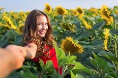 De mooie jonge vrouwenholding dient een zonnebloemgebied in royalty-vrije stock afbeelding