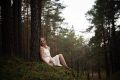 De mooie jonge zitting van de blondevrouw in bosnimf in witte kleding in altijdgroen hout stock foto's